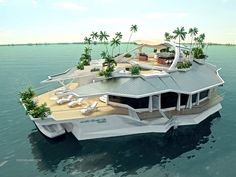 "A man-made, floating ""island"" developed by an Austrian firm. Measuring 66 by 121 feet the ""Orsos Island"" has no engine but can be anchored anywhere its owners choose."
