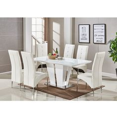 Memphis Glass Dining Table In High Gloss White And Chrome Base With 6 Vesta Dining Chairs in White Faux Leather Features: Dinning Room Buffet, Glass Dinning Table, Dinning Table Design, Dining Room Furniture Design, Simple Dining Table, Dining Room Chairs, Office Chairs, Chair Design, Decoration