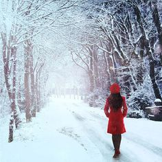 Love the pop of red in this winter scene