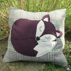 A snoozy fox on tartan wool. Cushion cover by TheSherbetPatch