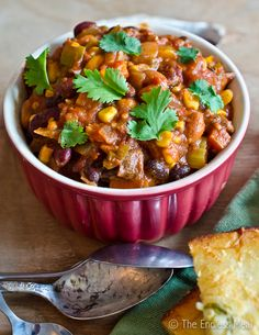 "Vegetarian Chili- a great looking ""base"" recipe that can be modified to your taste (add or subtract veggies and spices)"