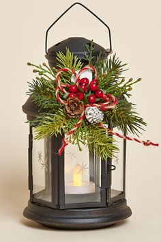 "8"" Black Metal Lantern with Removable Holiday Collar and Battery Tea Light"
