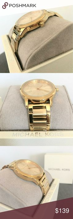 Michael Kors Hartman Gold-Tone Stainless Gold-tone stainless steel case with a gold-tone stainless steel bracelet. Fixed bezel. Gold-tone dial with gold-tone hands and index and Roman numeral hour markers. Dial Type: Analog. Quartz movement. Scratch resistant mineral crystal. Case diameter: 38 mm. Round case shape. Deployment clasp. Water resistant at 50 meters / 165 feet. Functions: hour, minute, second. Luxury watch style. Michael Kors Hartman Gold-Tone Stainless Steel  Watch MK3490…