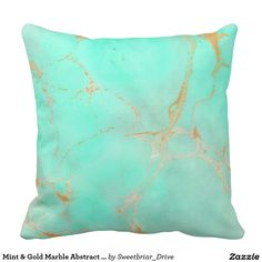 Mint & Gold Marble Abstract Aqua Teal Painted Look