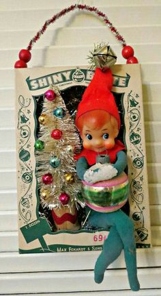 vintage christmas Vintage Ornament Box with Shiny and Brite Christmas Wall Decoration Vintage Christmas Crafts, Retro Christmas Decorations, Antique Christmas, Primitive Christmas, Vintage Ornaments, Christmas Love, Vintage Holiday, Christmas Projects, Xmas Crafts