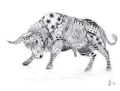 Bull Fighting by Ann Ewaldsson. Zentangle drawing.