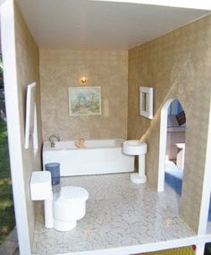 Dollhouse Decorating!: How to make some basic homemade wooden dollhouse bathroom furniture -- Idea for bathtub - boxed tub -- and I think it would be cute with a dowel hung across with a shower curtain