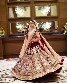 Maroon Velvet Bridal Lehenga Designs Latest - Get this maroon color velvet lehnga Indian Bridal Outfits, Indian Bridal Fashion, Indian Bridal Wear, Indian Designer Outfits, Indian Dresses, Indian Designers, Eid Dresses, Bridal Dresses, Indian Wedding Lehenga