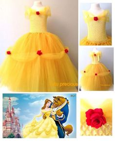Disney Inspired Beauty and the Beast Belle Princess Tutu Dress in Clothes, Shoes & Accessories, Fancy Dress & Period Costume, Fancy Dress Diy Robe Tulle, Tutu En Tulle, Halloween Costume Tutu, Diy Halloween Costumes For Kids, Disney Tutu Costumes, Costumes Kids, Robes Disney, Disney Dresses, Princess Tutu Dresses