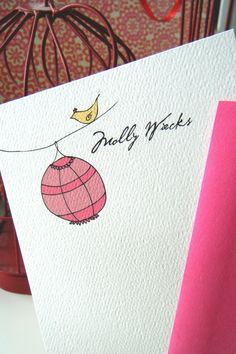 Bird and Lantern Personalized Stationery Cards and Sticker Gift Set
