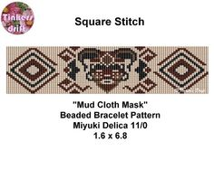 Mud Cloth Mask Square Stitch Beaded Bracelet by TinkersDrift