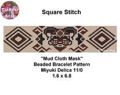 Mud Cloth Mask Square Stitch Beaded Bracelet by TinkersDrift