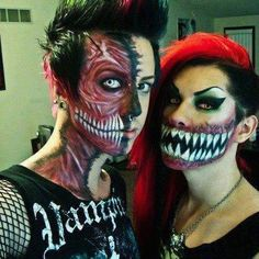 Awesome Couples Halloween Make up! Get these cool new ideas to match with your loved one during the best holiday ever Makeup Fx, Zombie Makeup, Scary Makeup, Makeup Looks, Halloween Costumes, Halloween Face Makeup, Awesome Makeup, Spider Makeup, Demon Makeup