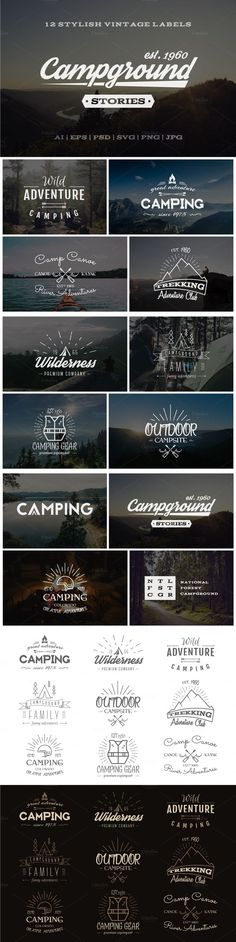 This Set included to OFF Adventure Graphics Pack - --- 12 Vintage outdoor explorer and adventure labels, logos, emblems collection. All badges are fully Retro Design, Logo Design, Graphic Design, Design Design, Design Ideas, Camp Logo, Typography Design, Lettering, Etiquette Vintage