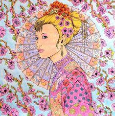 Nicholas F. Chandrawienata - Fantasia Japan Spring Coloured with Derwent AcademyAq., Derwent Metallic Aq