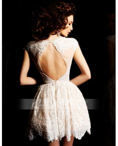 Embroidered Lace Mini Dress With Cap Sleeves Short Prom Dress -- back view.