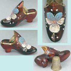 Unusual Antique English Glass Thimble Shoe w/Pansy; Circa 1870