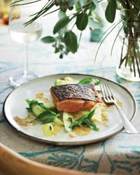 Barbecued Salmon with Green Mango Salad | Chef Pete Evans uses green mango—which is firm and a little crunchy—for the fresh, bright salad that accompanies the salmon fillets here.