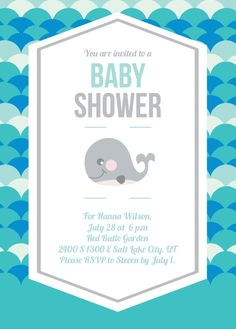 Love whales?? Whale, might as whale host a whale baby shower, and whale you're at it, might as whale customize this adorable whale invitation with your favorite colors and fonts!