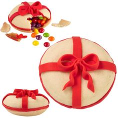 Pretty Presents Piñata Treats - Imagine the look on your guests' faces as they unwrap these tasty treats. The sensational shells are formed cleverly by inverting our Whoopie Pie Pan. Topped with a big red bow, these presents keep on giving!