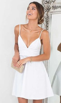 Plus Size Casual Wedding Dresses Tank Top Dress White Summer Dress Black And White Sundress Simple Homecoming Dresses, Cute Dresses For Party, Grad Dresses, Simple Dresses, Dress Party, Prom Dress, White Short Dress Graduation, Wedding Dresses, Reception Dresses