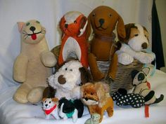 11 Piece Dog Lot- Some Vintage- Mostly Stuffed Animals- Possibly Haunted- Basket - NOW AVAILABLE ON EBAY