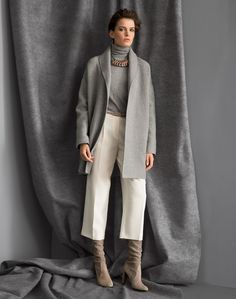 Boiled Double Face Cashmere Hutton Coat and Finesse Crepe Cropped Rivington Pant   Lafayette 148 New York