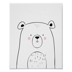 Bear Woodland Animal Nursery Wall art Monochrome ♥ A wonderful addition to your little one's nursery decor. A cute bear in black and white for your monochrome nursery. Safari Theme Nursery, Woodland Animal Nursery, Bear Nursery, Woodland Animals, Nursery Themes, Nursery Prints, Nursery Wall Art, Woodland Theme, Nursery Decor