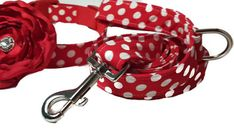 """Polka Dot Dog Collar and Leash  Dog Leash to Match Collar Add Your Matching by ColorMeHappyCollars  The Leash has an attached """"D Ring"""" at the handle to attach """"poop Bags"""" and keys. You now have your hands free to just hold the handle!"""