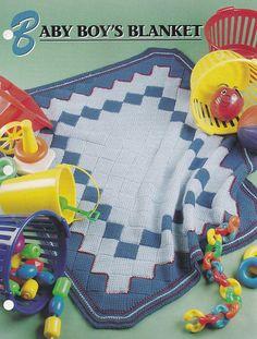 Baby Boy's Blanket, Annie's Crochet Quilt & Afghan Pattern Club Leaflet QAC350-02