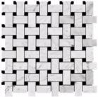 Carrara (Carrera) Bianco Polished 1x2 Basketweave Marble Mosaic Tile