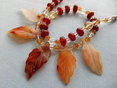 """Karneol Kette """"Indian Summer"""" mit matten Karneol Blättern Shops, Indian Summer, Beaded Bracelets, Jewelry, Fashion, Carnelian, Rhinestones, Handmade, Moda"""