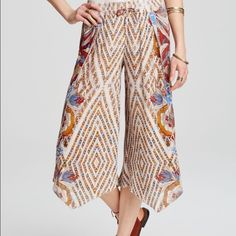 Alabaster Free People Flowy Pants Literally the cutest and most comfortable pants ever!! Brand new with tags. Such great colors and is going to be the most perfect pants with a crop top or bathing suit top when the warm weather comes ☀️☀️☀️ Free People Pants