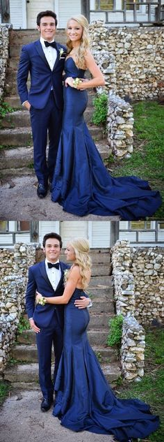 Sweetheart Mermaid Prom Dress, Navy Blue Floor-Length Prom Dress with Sweep Train 51650 #RosyProm #fashionpromdress #charmingpromgown #longpartydress #simpleeveningdress #sweetheartpromdress #promgown