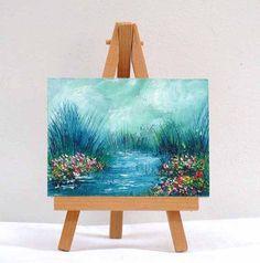 Field Of Flowers 2 3x4 original oil painting by valdasfineart