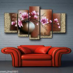 Modern-Deco-wall-Art-Oil-painting-on-canvas-flowers-No-Frame. $31.34 + sh $10.59. 1-12x44, 2-12x24, 2-12x36