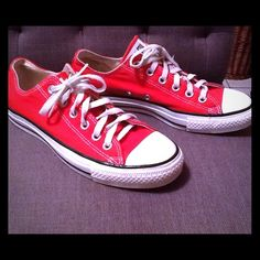 Red chuck Taylor all star converse shoes Red chuck Taylor all star converse shoes. Pre loved, but in great condition. I've had them store away for years! Women 8.5 and men's 6.5 size. Price firm, Thanks Converse Shoes Sneakers
