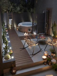 23 Backyard Patio Ideas That Will Amaze & Inspire You 18 Find inspirations to plan and beautify your backyard design. These backyard patio ideas will help you to make your backyard pretty and comfort. Cheap Backyard Makeover Ideas, Cheap Backyard Ideas, Hot Tub Backyard, Hot Tub Pergola, Hot Tub Deck, Cozy Backyard, Cozy Patio, Minimalist Garden, Apartment Interior Design