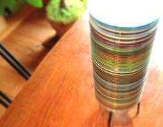 不要になったCDを重ねて作った照明。CD tower lighting