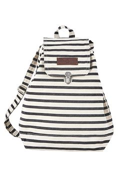 Carry your essentials in this black and white striped cotton backpack by House Doctor. White Backpack, Striped Backpack, Striped Bags, Backpack Bags, Fashion Backpack, House Doctor, Shops, Cotton Bag, Stylus