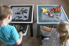 DIY Lego Table with storage bin underneath to hold all the extra legos! It's the perfect gift for the Lego Lover!