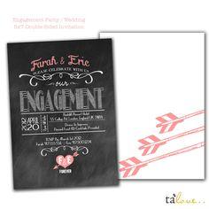 Chalk Board Wedding Engagement Invitation- Personalized. $15.00, via Etsy.
