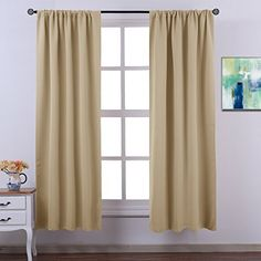 Nicetown Light Reducing Rod Pocket Blackout Curtains Draperies Liner 45W x 58L inch Curtain Set One Pair Hooks Included Beige ** Find out more about the great product at the image link.(It is Amazon affiliate link) #HomeOfficeFitting Curtain Sets, Rod Pocket, Blackout Curtains, Drapery, Hooks, Blockout Blinds, Haken