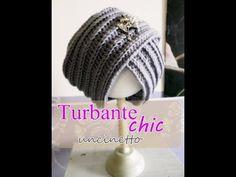 Cappello turbante all'uncinetto -principianti- - YouTube Cloche Hat, Fascinator, Knit Crochet, Beanie, Diy Crafts, Knitting, Hair Styles, Hats, Womens Fashion