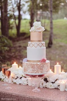 ~Ana's dream wedding I LoVe the DiFfeRent sHapeS anD pAtTernS~ 34 Romantic Wedding Cakes that Sweeten Your Big Day Mod Wedding, Trendy Wedding, Perfect Wedding, Dream Wedding, Wedding Day, Bling Wedding, Rosegold Wedding Cake, Old Rose Wedding Motif, Elegant Wedding