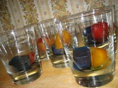 color experiments for preschool. Freeze ice cubes with food coloring. As they melt, see what colors they become.