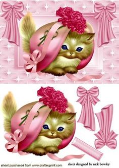 KITTY IN A PINK BONNET WITH BOWS on Craftsuprint designed by Nick Bowley - KITTY IN A PINK BONNET WITH BOWS, Makes a cute card,  - Now available for download!
