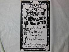 Halloween Wood Sign The Crossbones Inn Beware All Who Enter  Prop New