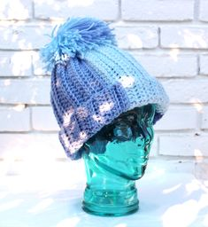 Easy knit look crochet slopes hat pattern