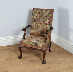 Antique English Georgian Chippendale Style Mahogany Open Gainsborough Armchair (Circa 1890)